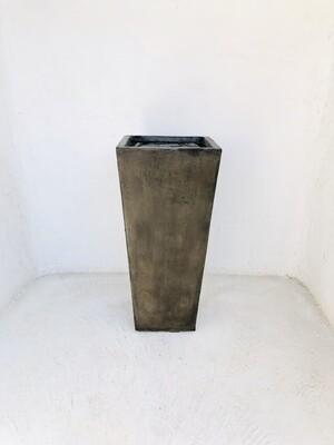 Square Slim Pot Medium Weathered Brown Finish - H702mm - 26kg