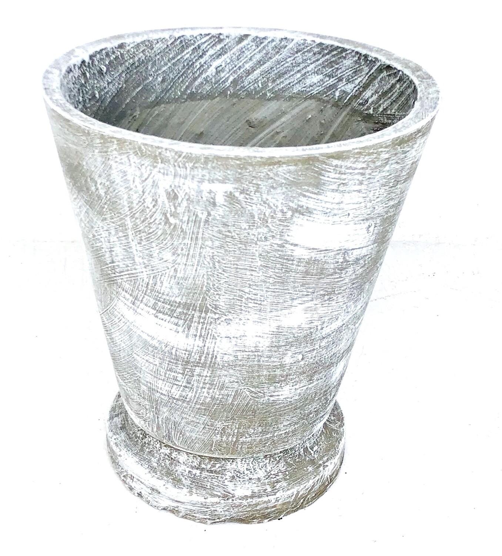 Edden Pot Large Whitewash Finish - H480mm x W420mm - 15kg