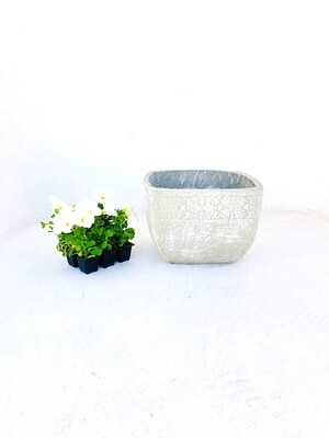 Anvick Pot Large Whitewash Finish - H250mm x W360mm - 8kg