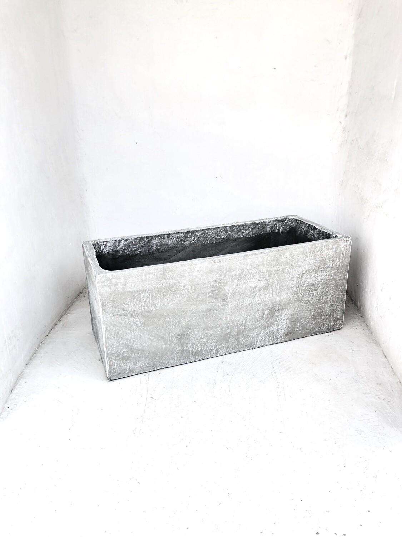 Ondela Rectangular Pot Medium Whitewash Finish - L1000mm x W420mm x D380mm - 70kg