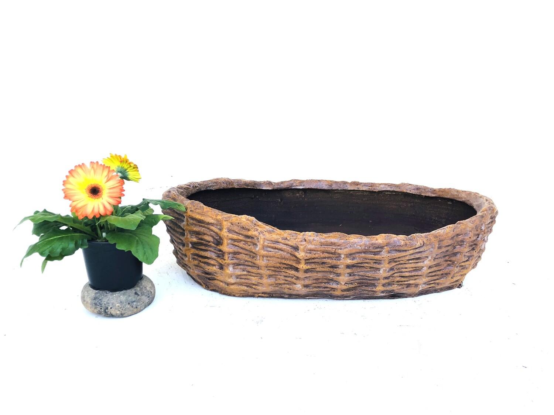 Small Woven Planter Honeyclay Finish - L550mm x W350mm x H120mm - 10kg