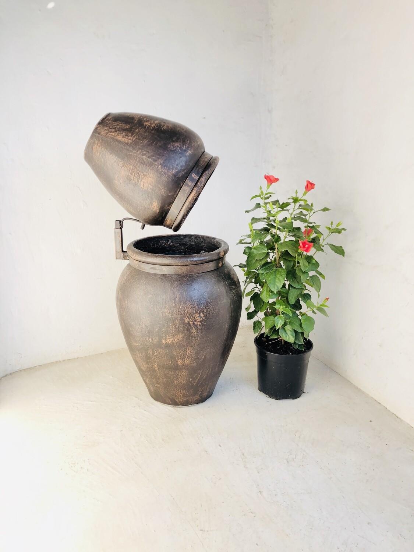 Turkish Jar Double Fountain Steel Mecca Brown Finish - H1070mm x W520mm - 46kg