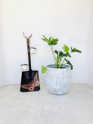 Hope Plant Pot Medium with Large Stripes Whitewash - Finish H350mm x W340mm - 11kg