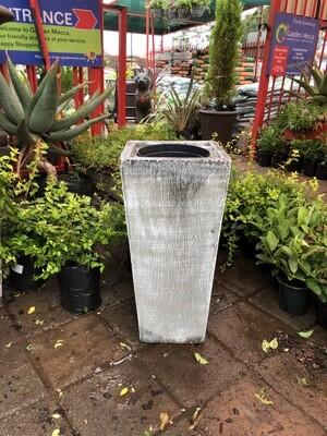 Square Slim Pot with Liner Medium Whitewash Finish - L702mm x W330 - 37kg