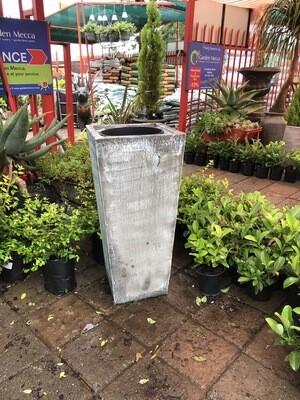 Square Slim Pot with Liner Large Whitewash Finish - L901mm x W420 - 60kg
