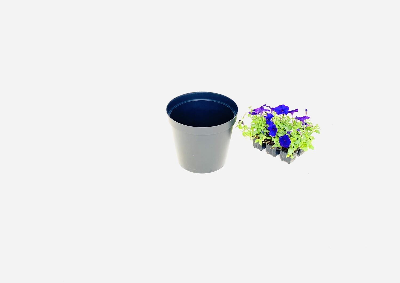 25cm Pot Black Width 25cm x Height 21.5cm