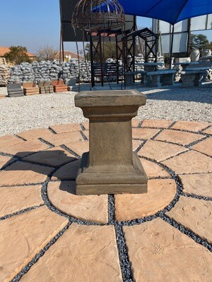Square Pedestal Large Weathered Grey Finish - H510mm x W Top330mm x W Foot380mm - 35kg