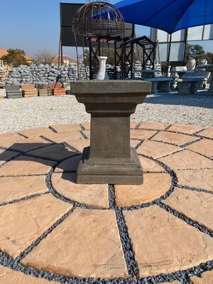 Square Pedestal X-Large Weathered Grey Finish - H565mm x W Top400mm x W Foot380mm - 44Kg