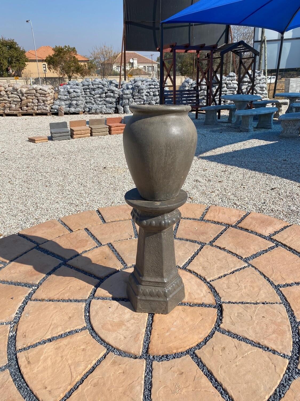 Turkish Jar Medium Weathered Grey Finish on Hexagon Pedestal Weathered Grey Finish Complete - H1.14m - 78kg