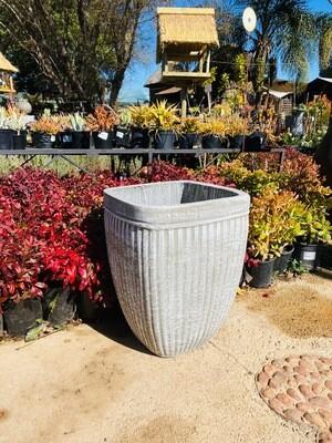 Square Stripe Pot Large Whitewash Finish - H540mm x W410mm - 24kg