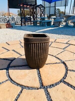 Square Stripe Pot Medium Mecca Brown Finish - H410mm x W305mm - 13Kg