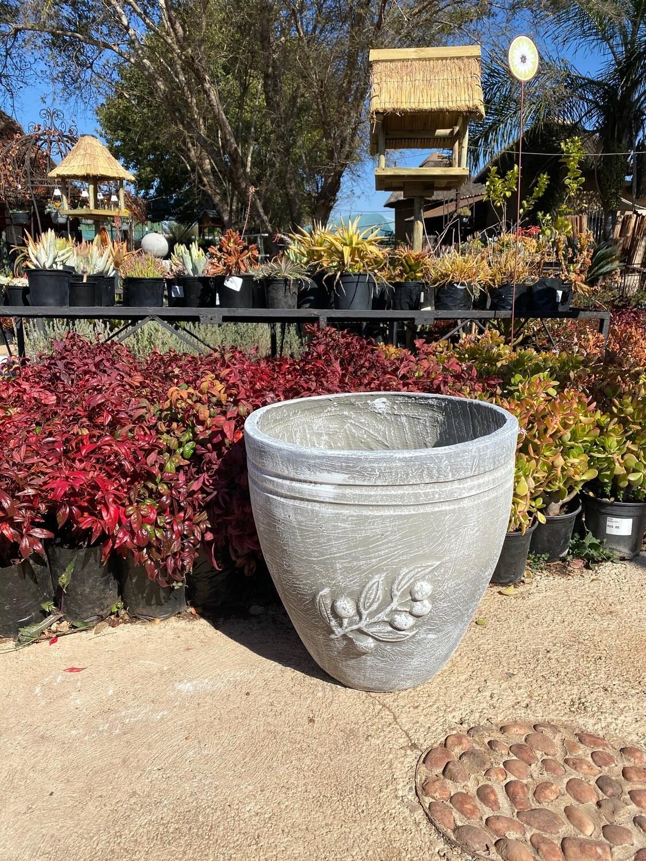 Olive Pot Large Whitewash Finish - H470mm - 20kg