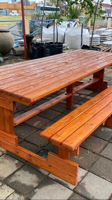 Wooden Picnic Six Seater Bench L2700mm x W650mm