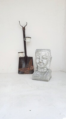 Buddha Head Planter Whitewash Finish - H430mm x W230mm - 13kg
