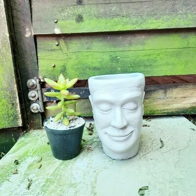 Adam Jnr Head Planter Cement Colour Finish - H135mm x W100mm - 0.9kg