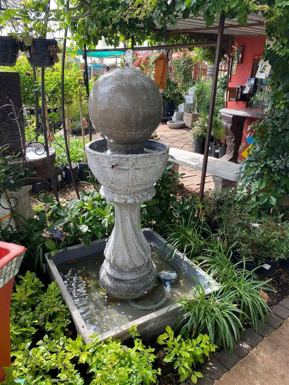 Round Ball Fountain In Bowl Whitewash Finish - H1200mm