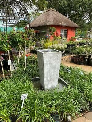Square Slim Pot Lid Fountain Large Whitewash Finish - H900mm