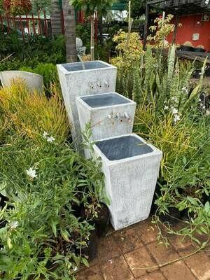 Tripple Slim Pot Copper Pipe Fountain Large Whitewash Finish - H900mm