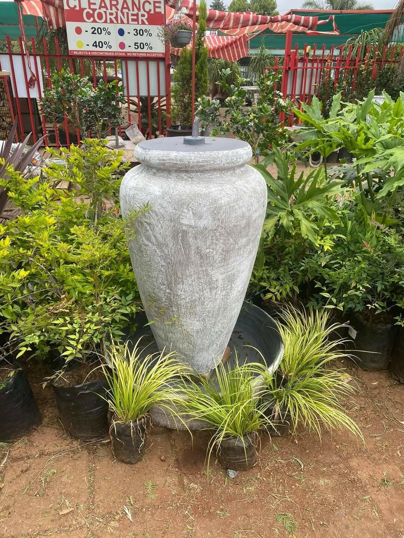 Ansie Vase Fountain Whitewash Finish With Bowl - H1400mm