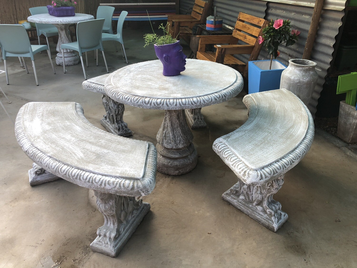 Corinth Table Set  - 3 Benches - W1000mm - 411kg