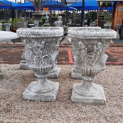 Dancing Ladies Scroll Urn Whitewash Finish - H860mm x W550mm - 58kg