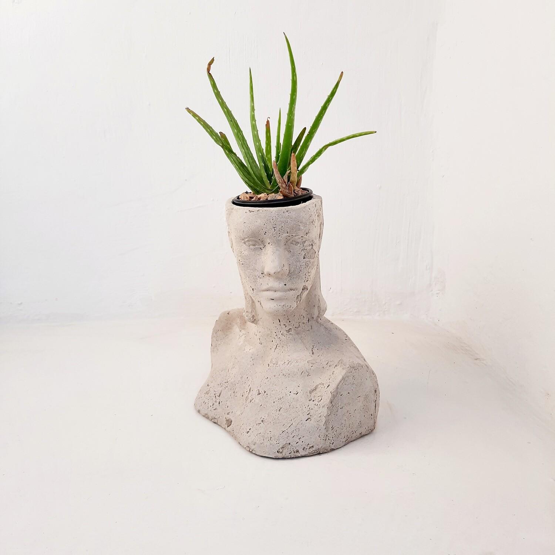 Diana Head Planter Cement Finish - H420mm x W250mm - 3kg
