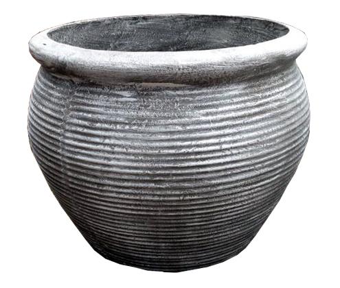 African Round Louvre Pot Medium Whitewash Finish - 23kg