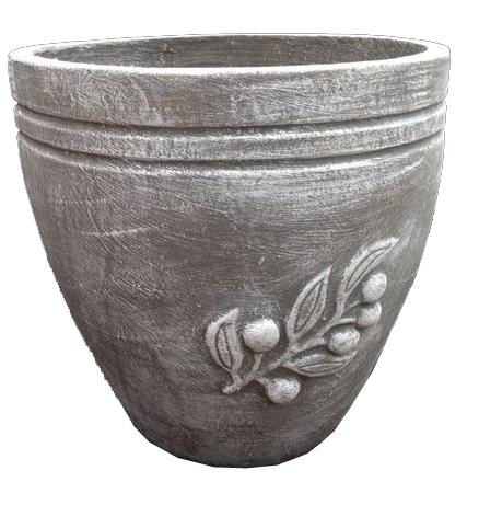 Olive Pot Small Whitewash Finish - H320mm - 7kg