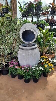 Turkish Jar Double Fountain Whitewash Finish (Excluding Pump) - H1000mm x W440mm - 45kg
