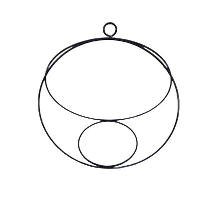 Black Steel Round Hanging Potholder - 30x17x32cm - 15cm Pot