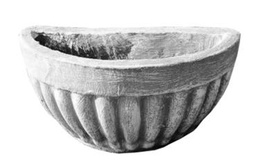 Half Wall Bowl Stripes Whitewash Finish - W120mm - 5kg
