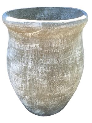 Fatso Flower Pot Large Whitewash Finish - H640mm x W610mm - 48kg