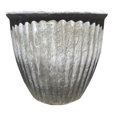 Stripe Pot Medium Whitewash Finish - H310mm x W330mm - 5.6kg
