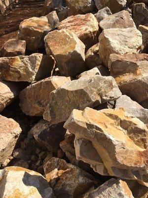 Caramel Run of Dump Rock  Unselected 200mm-600mm 300x600mm bags between 15-20kg