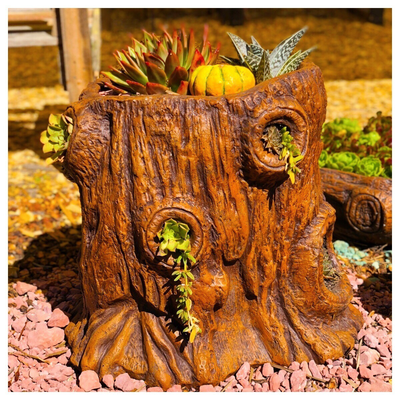 Upright Log Planter Honeyclay Finish - L600mm x W480mm x H460mm - 26kg