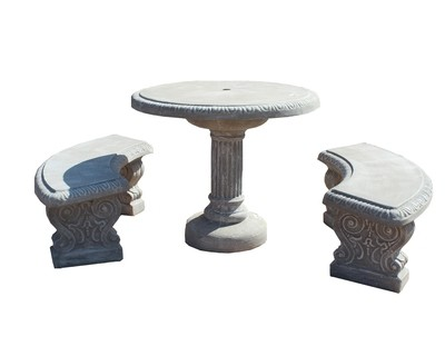 Fluted Table Set with Scroll Legs - 8 Piece - W1000mm - 535kg