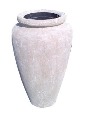 Ansie Vase with Liner Whitewash Finish - H980mm x W600mm - 50kg