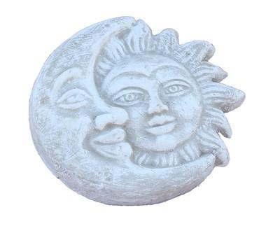 Sun & Moon Plaque Whitewash Finish - W250mm - 2.6kg
