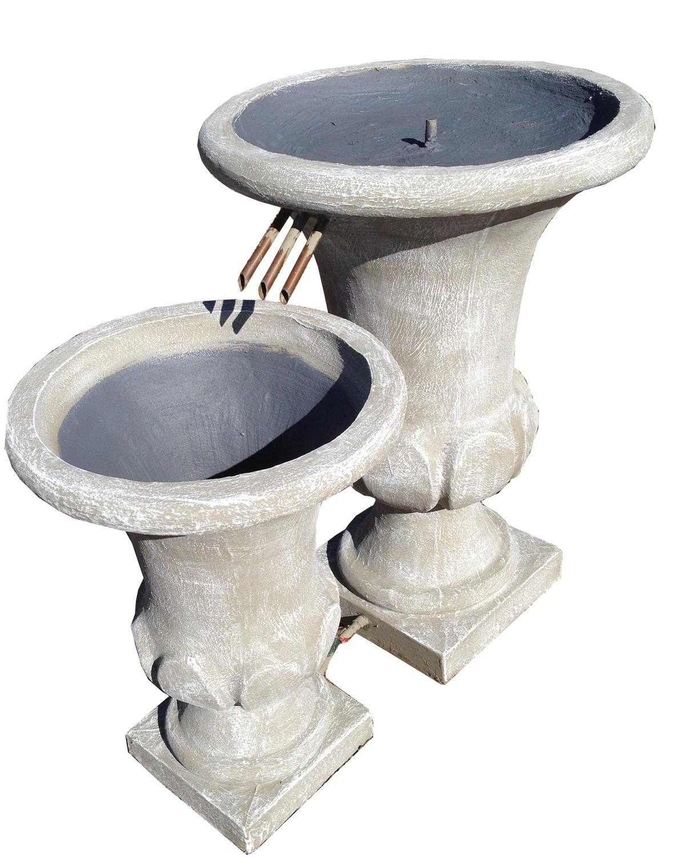 Joshua Urn Copper Pipe Double Fountain Medium