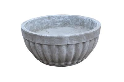 Concrete Bowl Round Stripes Whitewash Finish - H170mm x W340mm - 9kg