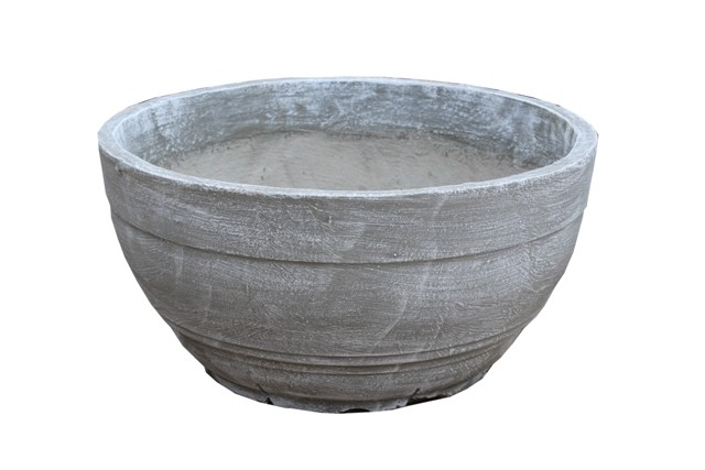 Concrete Bowl Round Whitewash Finish - H220mm x W460mm - 11kg