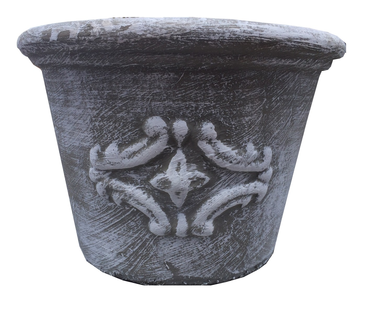 Adria Pot Small Whitewash Finish - H220mm x W320mm - 5.8kg