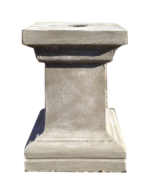 Square Pedestal Large Whitewash Finish - H505mm x W Top330mm x W Foot380mm - 35kg