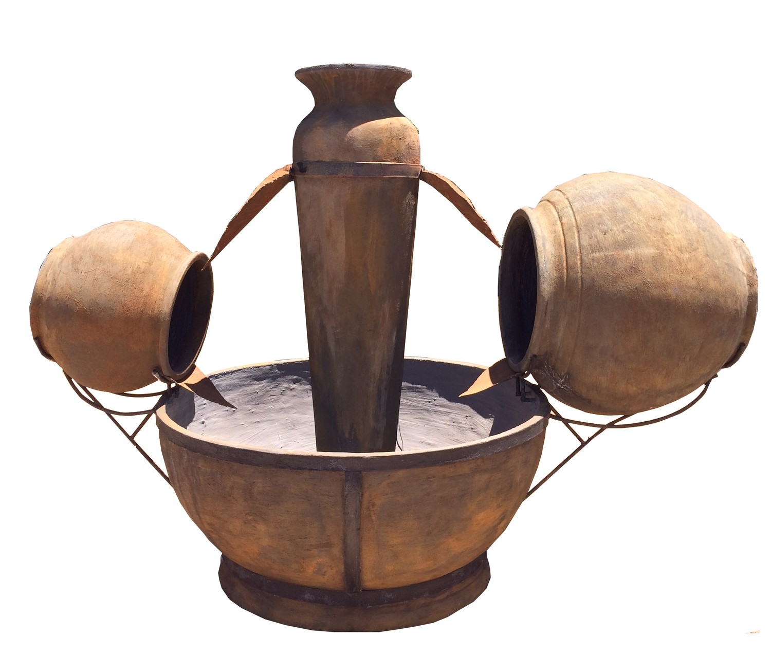 Hippo Bowl Fountain XL Rust Finish Steel & Chain   H 1,9 meters X W 3 meters