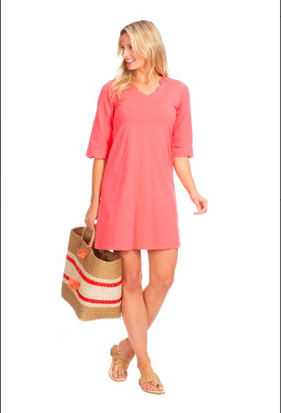 Sabrina Scallop Dress in Coral