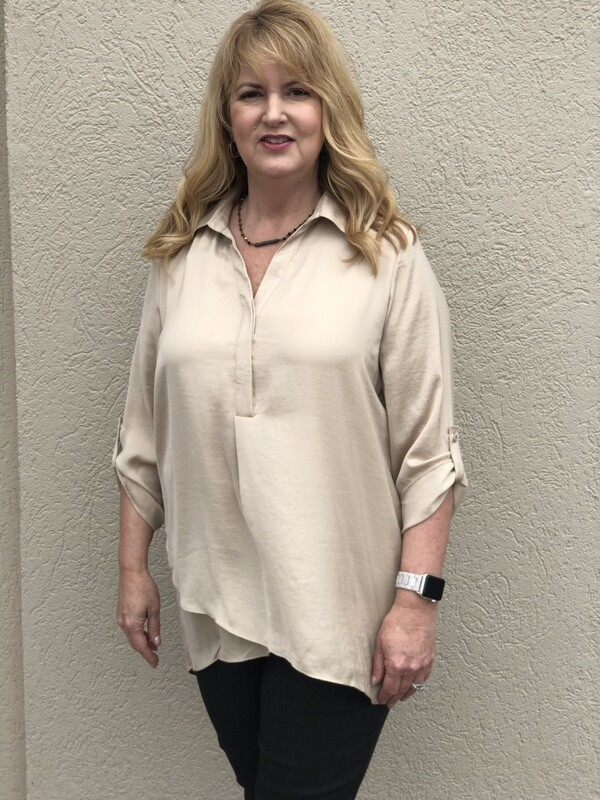 LAST ONE SIZE XL R5517 Airflow Blouse in Sand