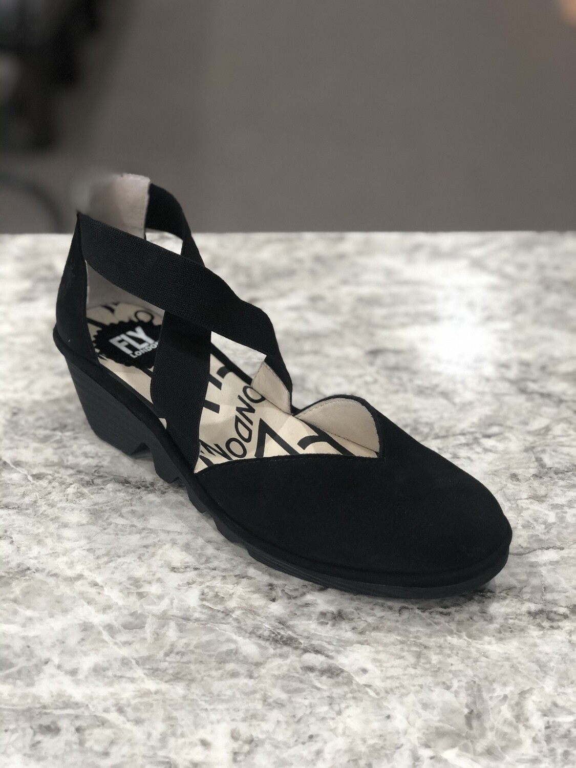 PACO147 Black Wedge Sandal