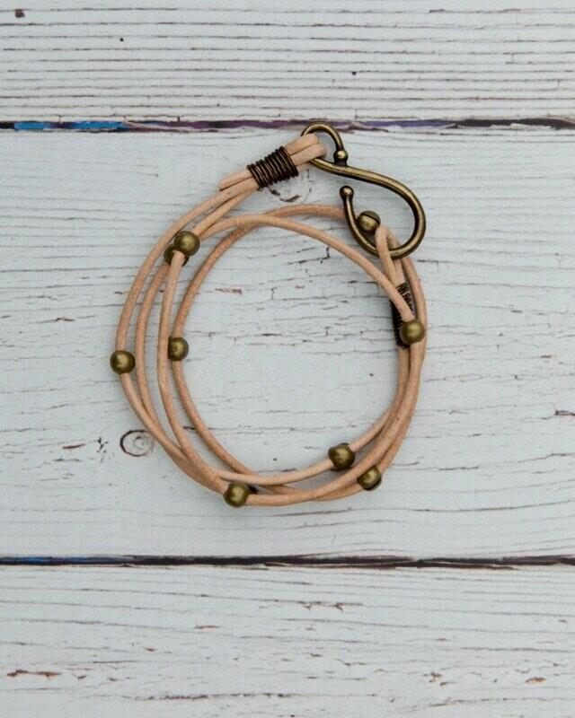 Double Leather Hook Wrap Blonde w/ Brass