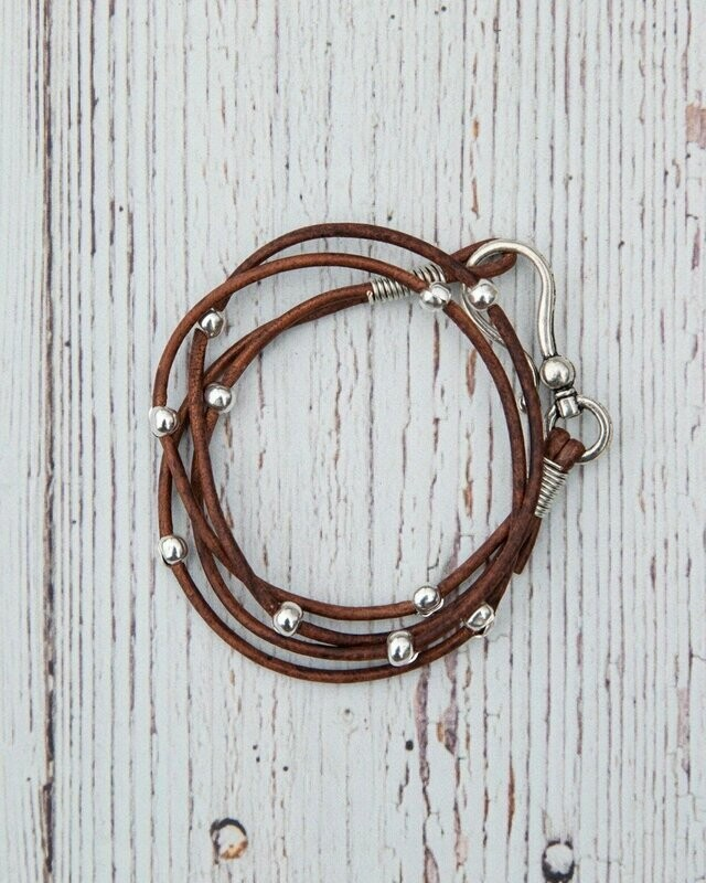 Double Leather Hook Wrap Brown