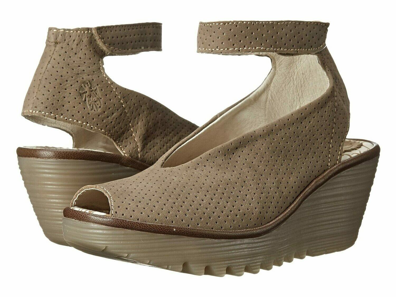Yala Perf Khaki Wedge Sandal in Wide